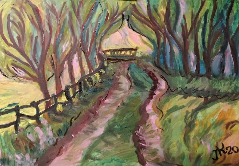 Road in the forest  Oil painting  Landscape  Nature  image 0