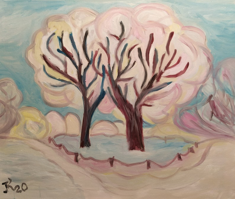 Winter trees  Oil painting  Canvas painting  Ladscape  image 0