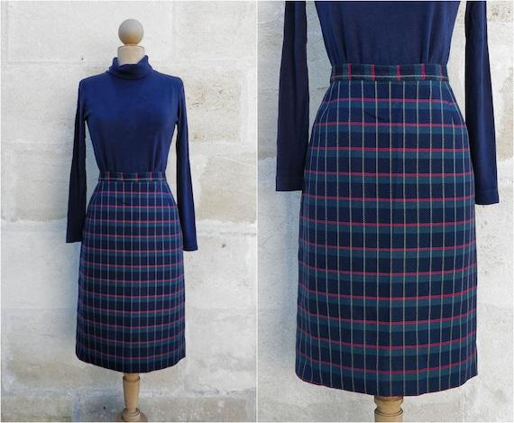 Cacharel tartan pattern skirt / Cacharel wool skir