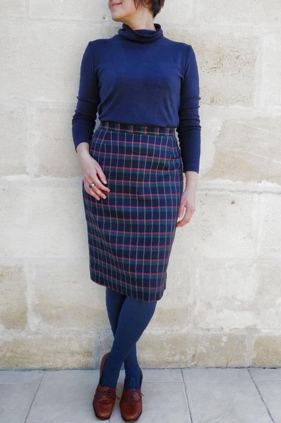 Cacharel tartan pattern skirt / Cacharel wool ski… - image 3