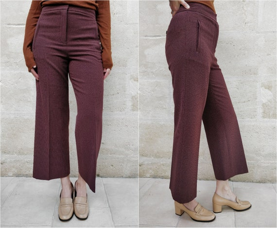 High-waisted flared trousers