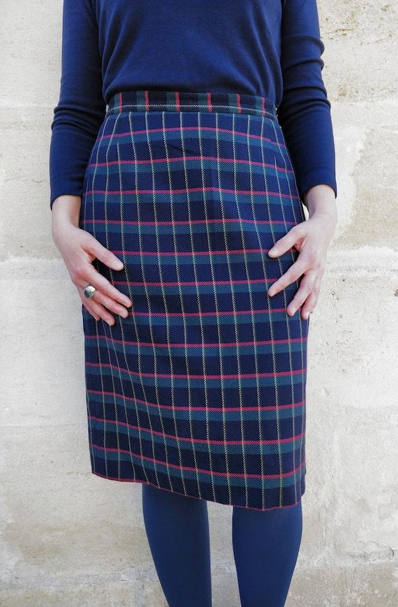 Cacharel tartan pattern skirt / Cacharel wool ski… - image 6
