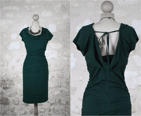 Green evening dress / green dress-herd/knot dress