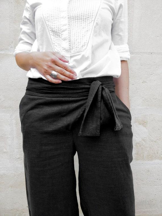 Wide linen trousers