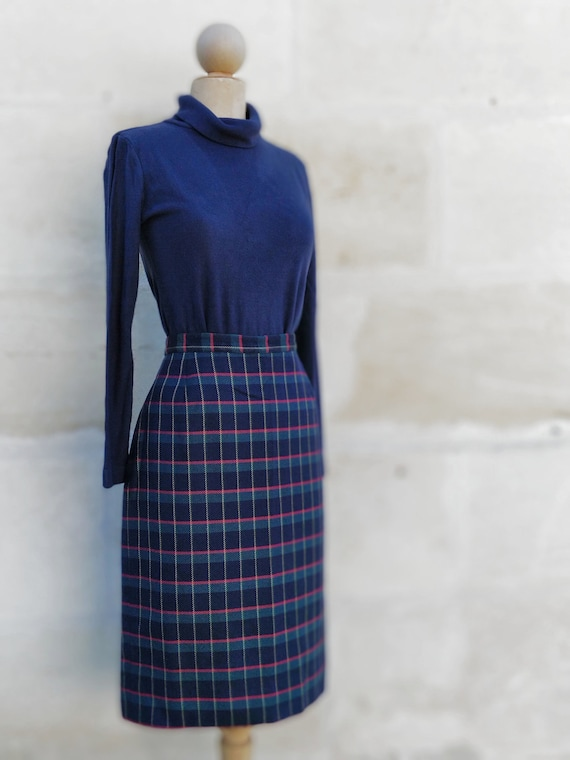 Cacharel tartan pattern skirt / Cacharel wool ski… - image 2