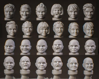 Female Heads - Compatible with Large Heroic SciFi Soldiers