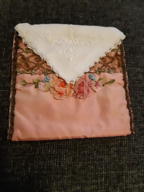 Antique silk boudoir bag