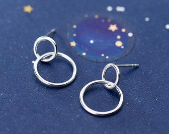 Silver Coin Dangle Earrings \u2022 Long Chain Earrings \u2022 Grey Pearl Earrings \u2022 Statement Earrings \u2022 Long Circle Drop Earrings \u2022 Boho Earrings