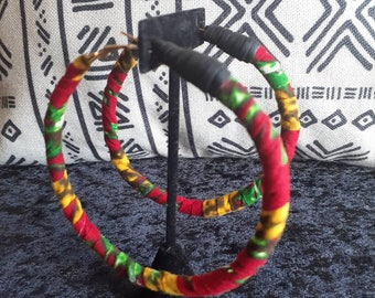 Large African/Rasta print wrapped hoop earrings w/ black faux leather detail READY TO SHIP
