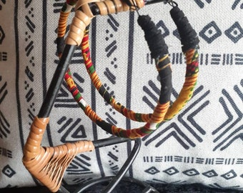 Large African/Ankara print hoop earrings w/faux leather detail READY TO SHIP