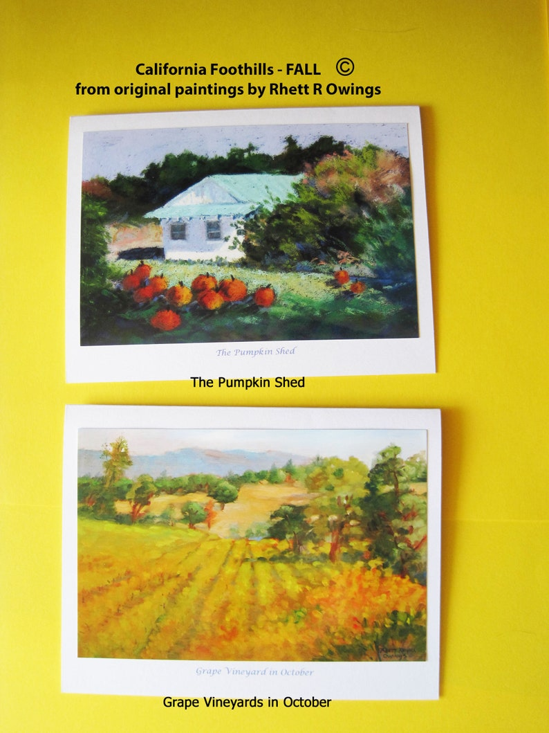 CALIFORNIA FOOTHILLS FALL ~ six note cards from original paintings by Rhett R Owings ~ oaks pumpkins vineyards landscapes art stationery