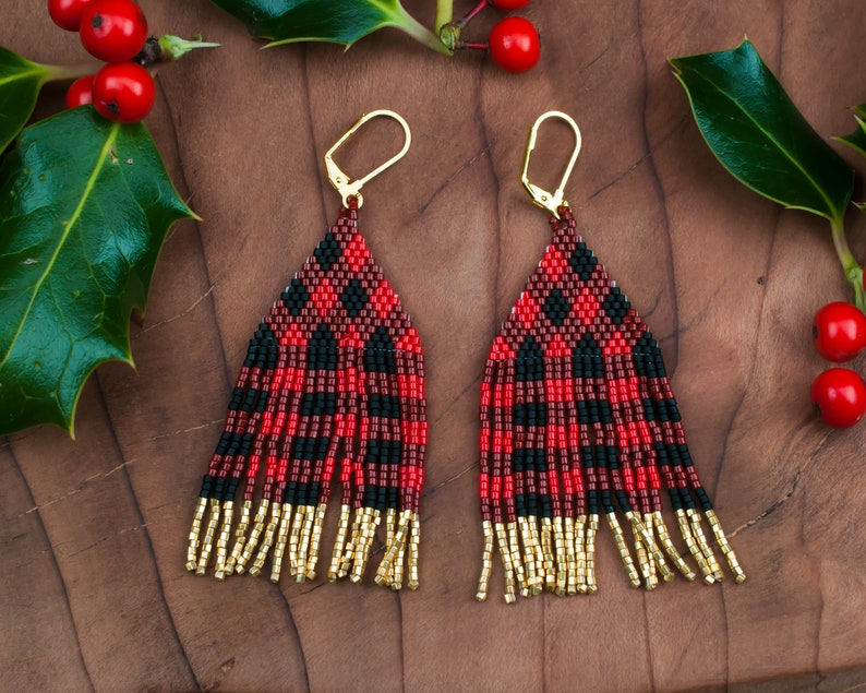 Beaded Plaid Earrings With Gold Highlights Native American image 0