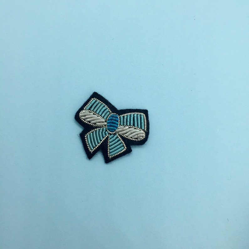 Embroidered Mini Bow Sew-On Patch  Colourful Goldwork Embroidered Patch  Cute Little Bow Accessory