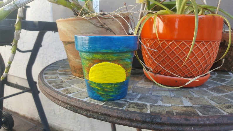 Handpainted Terracotta Flower Planter Pot Day and Night Tropical Ocean Double Sided