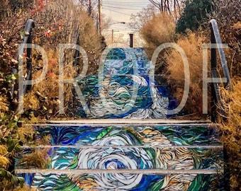 "Philadelphia ""Water Under the Bridge"" Mosaic 5x7 Matted Photo"