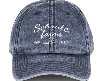 ec7b469470400 Schrute Farms Hat in Cursive