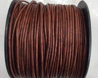 Natural red brown leather cord 25 yards 1.5 mm, craft leather, leather supply, round leather cord, wrap leather bracelet, by the yard
