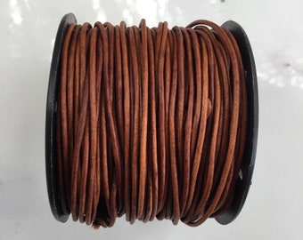 Leather Round Cord, Natural Light Brown Leather Cord, 25 yards, Craft Leather, Leather Supply, Wrap Leather Bracelet, Leather by the yard