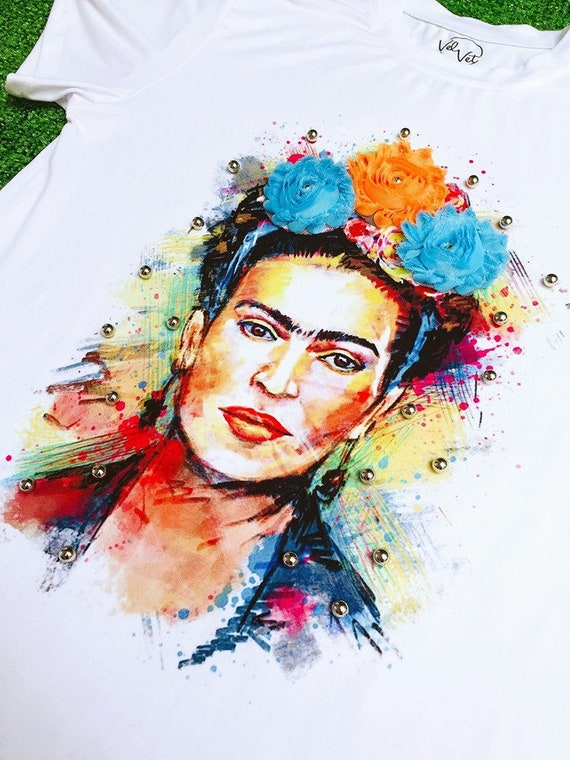 Frida fashion collection, women t shirt with handmade application flower and fantasy  pearl