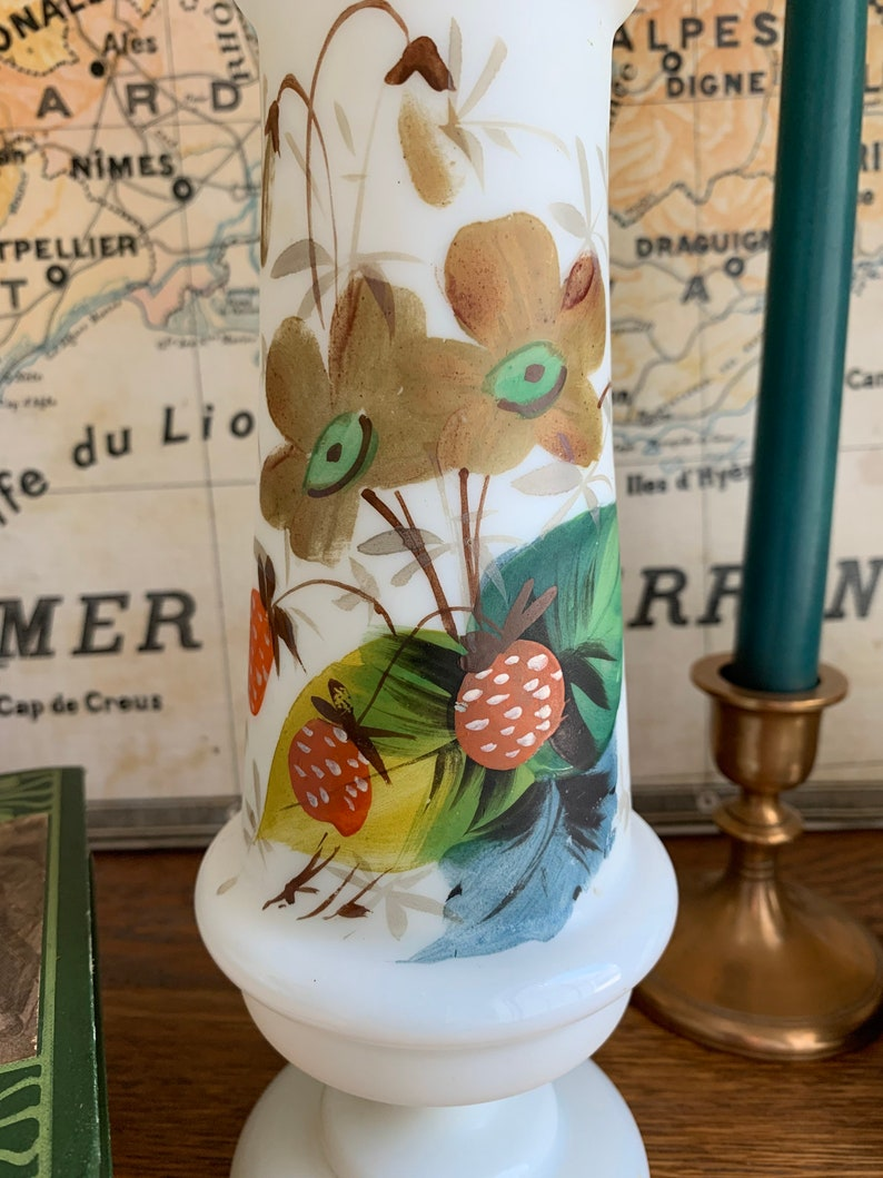 Pair of Victorian Bristol Hand-Blown and Hand-Painted Vases