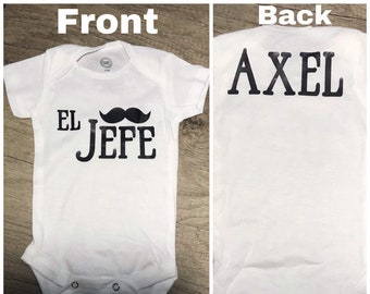 878b9dd6d El Jefe Funny Baby Bodysuit • Unique Typographic Spanish Outfit for Baby • El  Jefe Gift for Baby, Niece, or Nephew, personalized with name