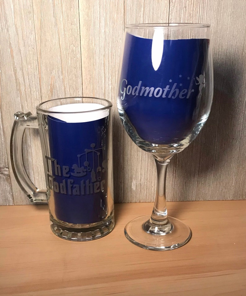 Personalised Thank You for being my Godmother//Godfather Engraved Wine glass Chri