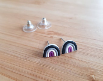 Mini Asexual Pride Rainbow Studs - Pride Collection, Handmade Polymer Clay Earrings, Lgbtq+ Pride