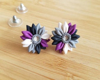Asexual Pride Flower Studs - Pride Collection, Handmade Polymer Clay Earrings, Lgbtq+ Pride