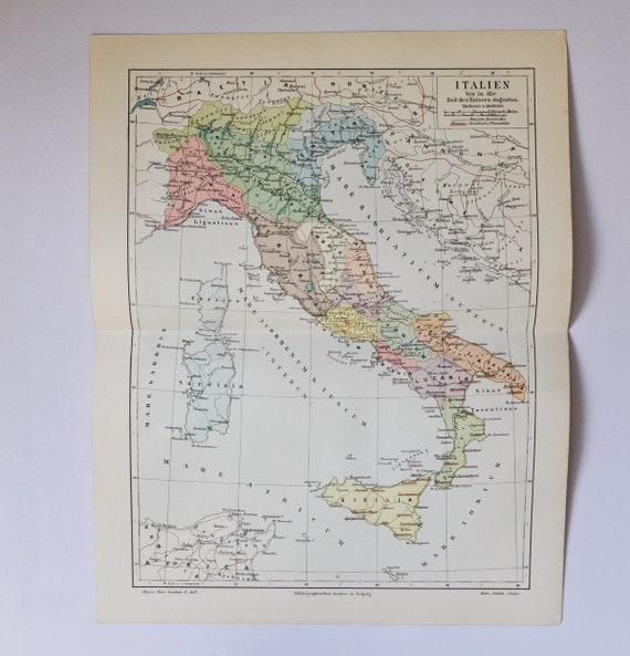 Italy during Roman Emperor Augustus - original antique map from 1902  (country, city, mediterranean sea, roman empire, sardinia, sicily)