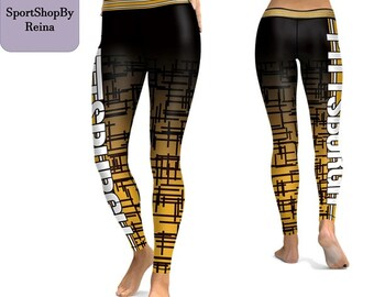 80543dcb43f1f Sport Sexy Football Leggings City Team Pittsburgh Steelers Fitness Women