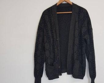 f40e505c5b023 Vintage Cardigan. Oversized 80s Cardigan Knitwear Black Grey Pockets Baggy Cardigan  Jumper Size Womens 14