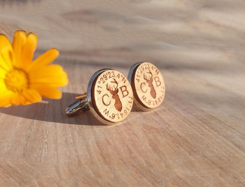 Personalised Cufflinks Custom Coordinates Wooden Cufflinks Coordinates  Deer Cufflinks Gifts For Groom Custom Coordinates Gifts