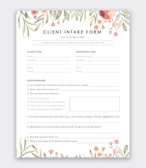 Virtual Assistant Client Intake Form New Client Assessment Form Client Consultation Template Va Client Information Format Welcome Packet