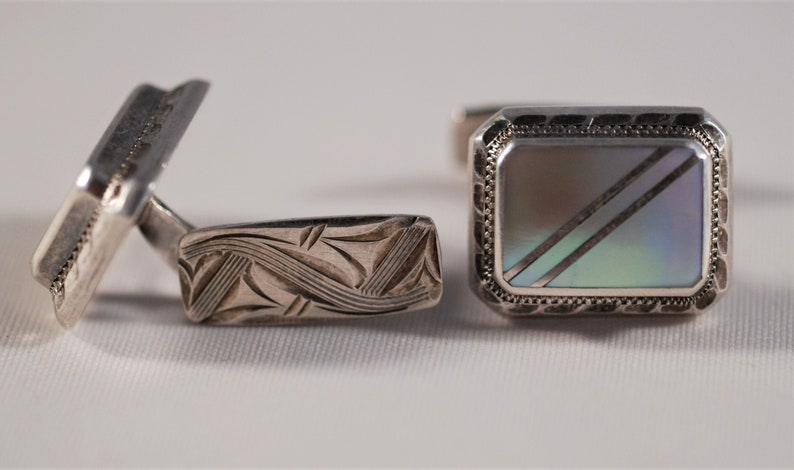 835 silver Waidelich /& Braun German cufflinks WB 1930s Deco with mother of pearl