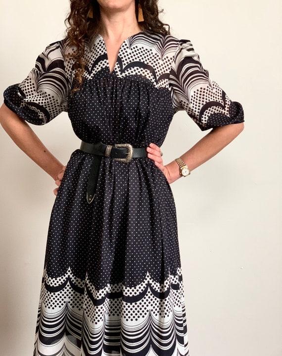 1960s Mod Polka Dot Babydoll Dress