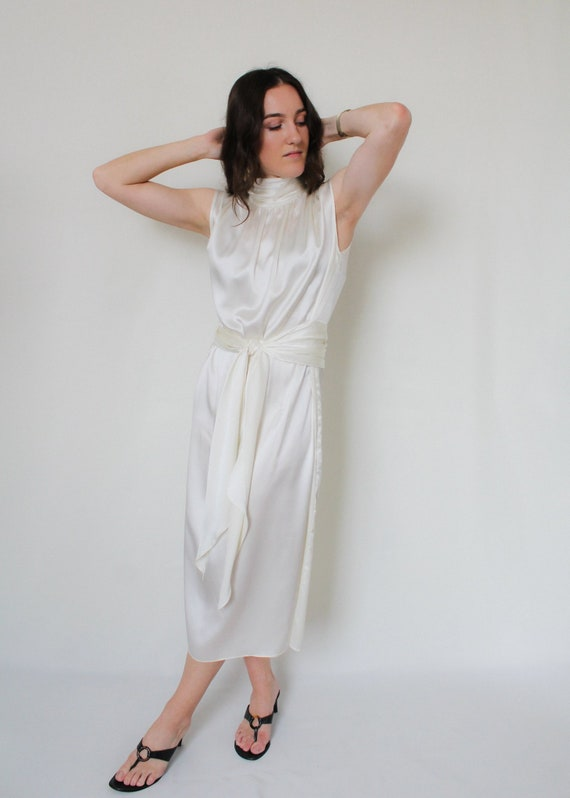 1990s Silk Charmeuse Belted Dress - image 3