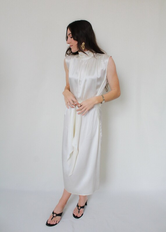 1990s Silk Charmeuse Belted Dress - image 4