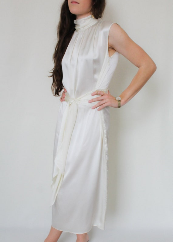 1990s Silk Charmeuse Belted Dress - image 2