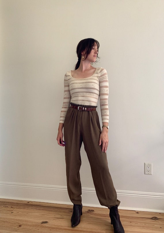 1990s Speckled Brown Loose Pants With Elastic Wais
