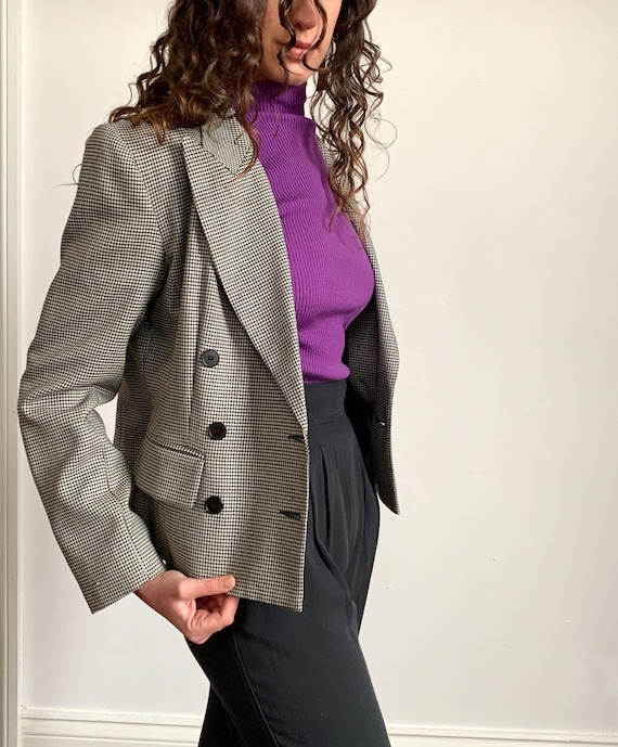 1980s Wool Houndstooth Double-Breasted Blazer