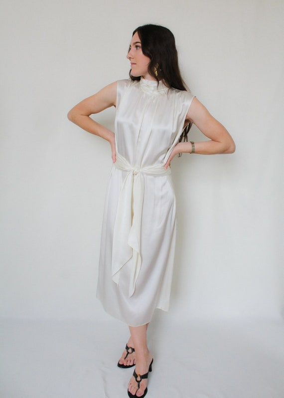 1990s Silk Charmeuse Belted Dress - image 1