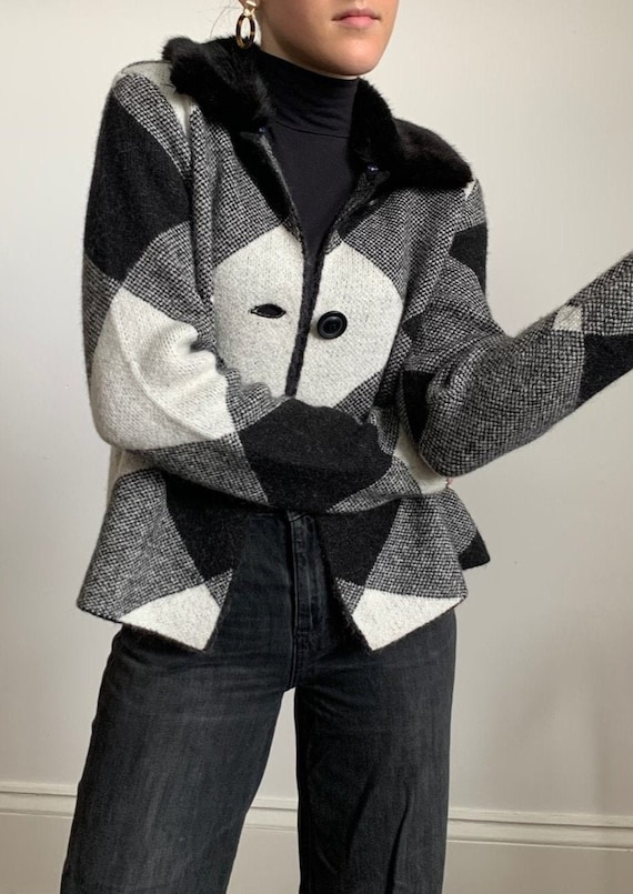 1990s Checkered Knit Jacket With Fur Collar