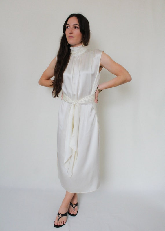 1990s Silk Charmeuse Belted Dress - image 5
