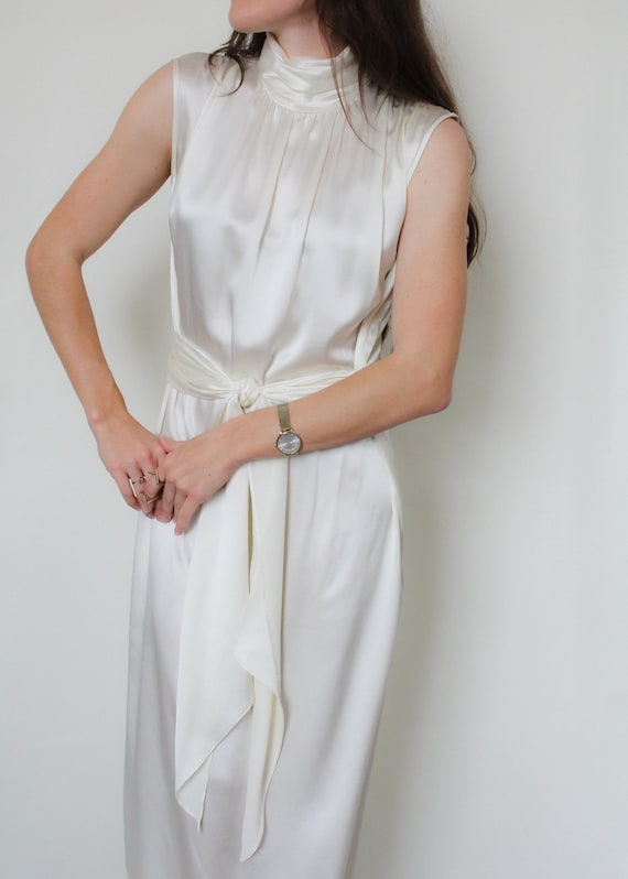 1990s Silk Charmeuse Belted Dress - image 6
