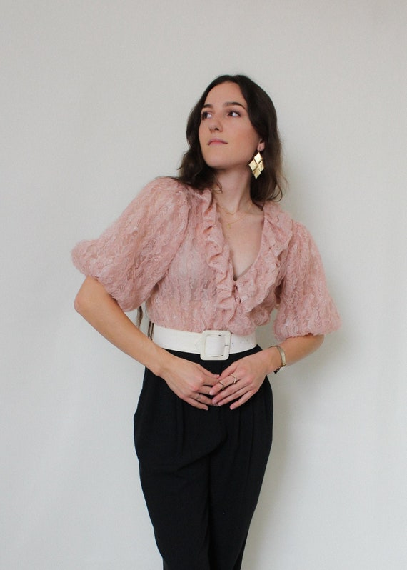 Dusty Rose Lace Organza Blouse