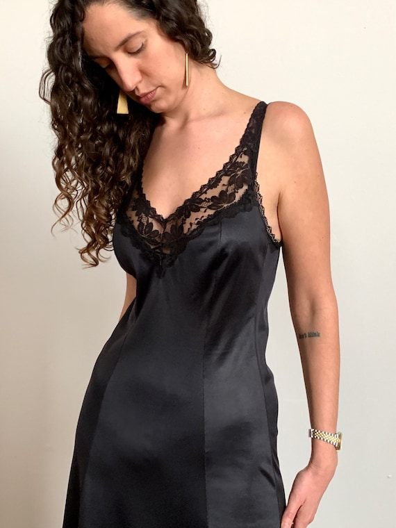 1980s Black Lace Slip Dress