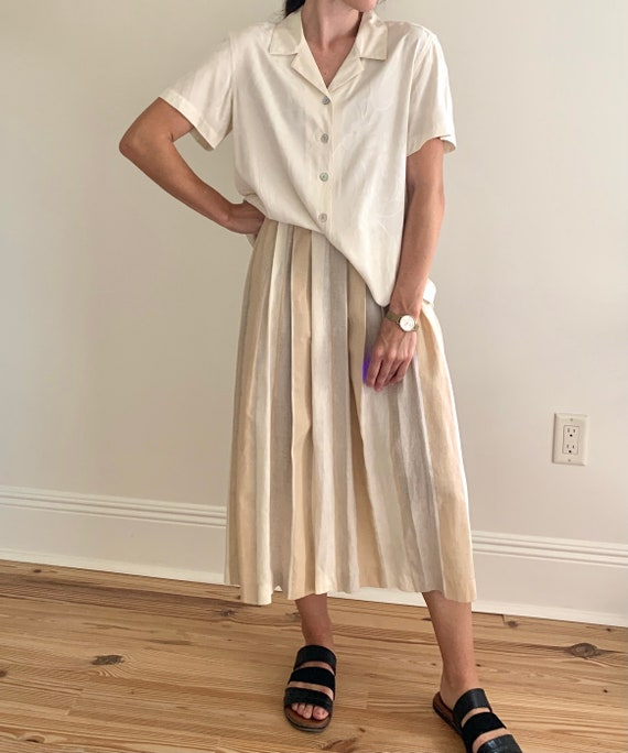 1970s Pleated Pastel Striped Linen Midi Skirt