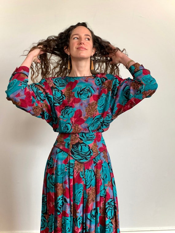 1980s Turquoise Rose Floral Blouse and Skirt Set