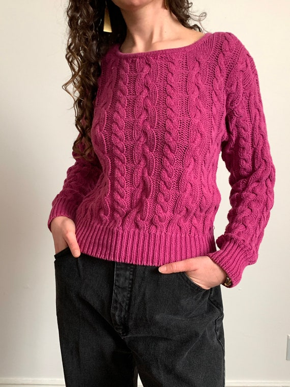 1980s Magenta Cable Knit Sweater