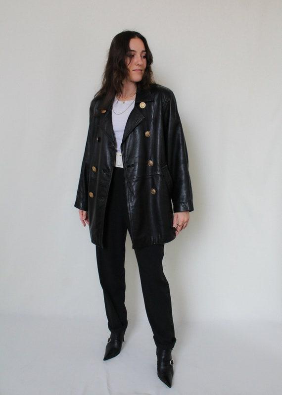 1980s Buttery Black Leather Oversized Jacket
